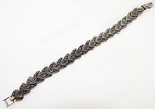 Marcasite Jewelry - Sterling and Marcasite Petals Bracelet