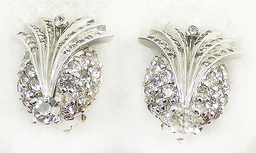 Florals - Clear Rhinestone Thistle Earrings