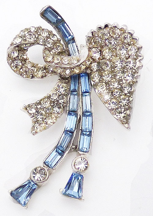 Bows & Ribbons - Clear and Blue Rhinestone Bow Brooch