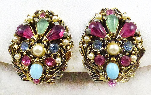 Spring Pastel Jewelry - Hollycraft Rhinestone and Seed Pearl Earrings