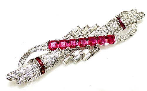 Newly Added Art Deco Ruby Rhinestone Scroll Brooch