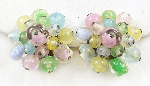 Spring Pastel Jewelry - West German Pastel Glass Bead Earrings