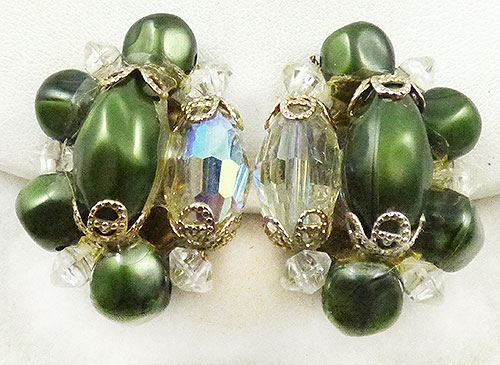 Newly Added Green Faux Pearl and Crystal Earrings