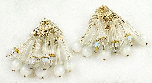 Newly Added White Lucite and Moonglow Bead Earrings
