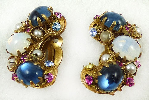 Newly Added Jonné Blue and Moonstone Glass Cabochon Earrings
