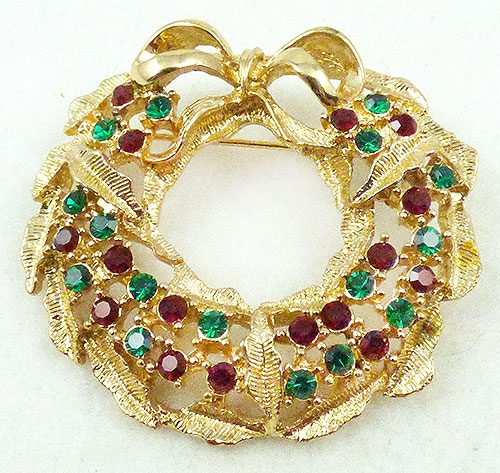 Christmas and Holidays - Eisenberg Ice Christmas Wreath Brooch
