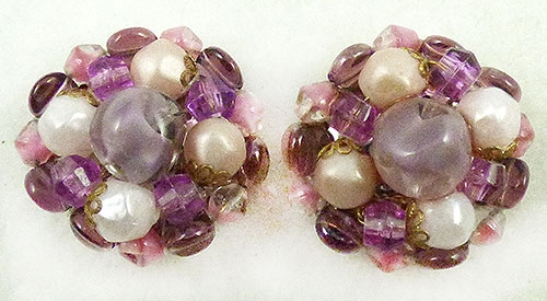 Newly Added German Purple Glass Bead Earrings