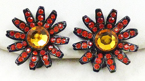 Florals - Capri Japanned Orange Flower Earrings