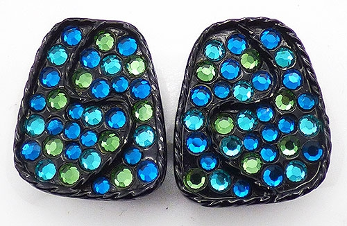 Newly Added Capri Blue Aqua Japanned Earrings