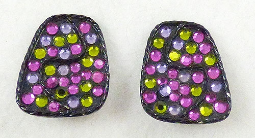 Misc. Signed A-F - Capri Japanned Rhinestone Earrings