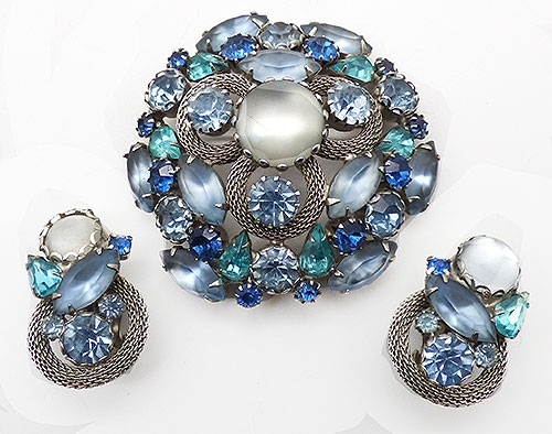 Sets & Parures - Blue Rhinestone Satin Glass Domed Brooch Set