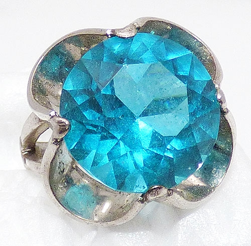 Rings - Sterling Silver Turquoise Glass Ring