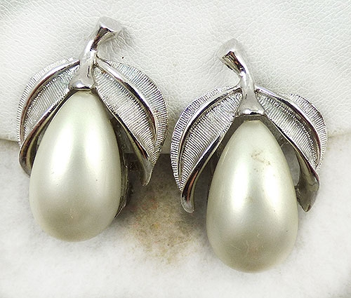 Newly Added Silver Tone Pearl Pear Earrings