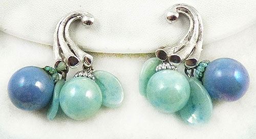 Newly Added Iridescent Aqua and Blue Bead Dangle Earrings