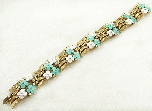 Florals - Trifari Aqua and White Flowers Bracelet