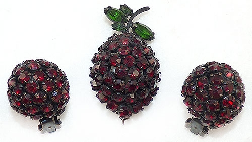 Newly Added Warner Red Rhinestone Strawberry Brooch Set