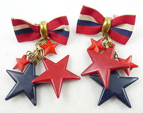 Newly Added Patriotic Bows and Stars Earrings