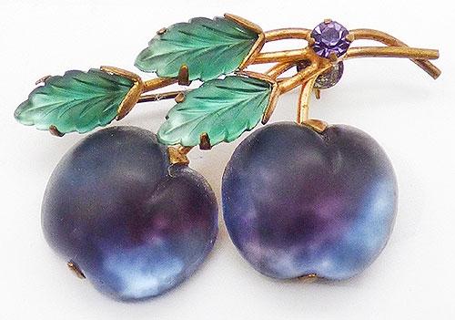 Austria - Austrai Purple Glass Plums Brooch