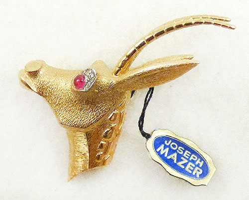 Figural Jewelry - Animals - Jomaz Gold Gazelle Brooch