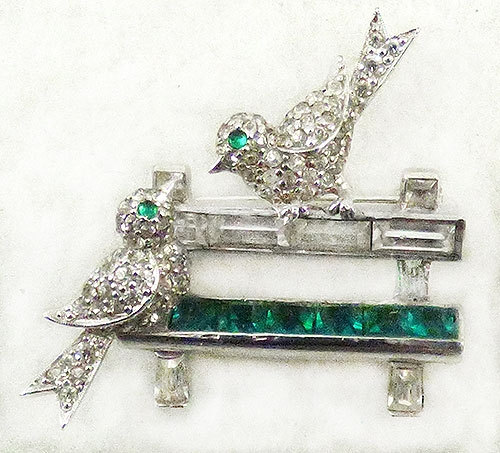 Figural Jewelry - Birds & Fish - Jomaz Rhinestone Bird on a Bench Brooch