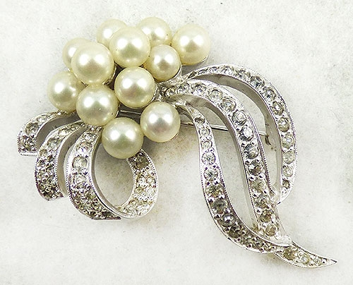 Newly Added Jomaz Pearl Rhinestone Bouquet Brooch