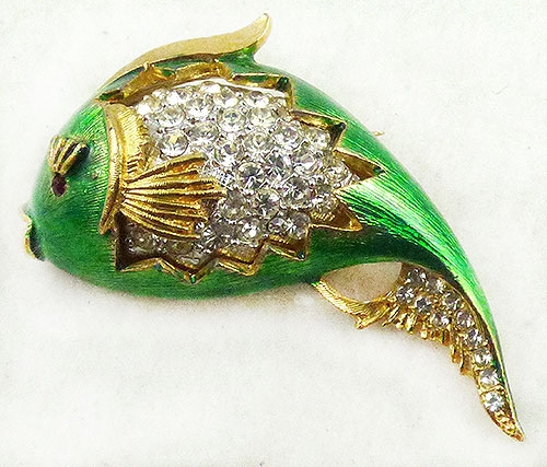 Figural Jewelry - Birds & Fish - Jomaz Green Enamel Rhinestone Fish Brooch