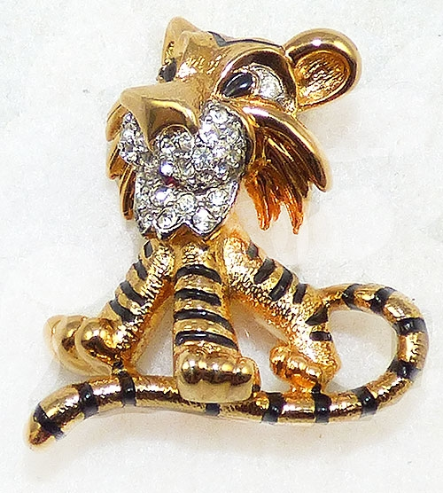 Brooches - Jomaz Gold Tone Tiger Brooch
