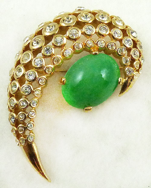 Newly Added Jomaz Jade Glass Rhinestone Comet Brooch