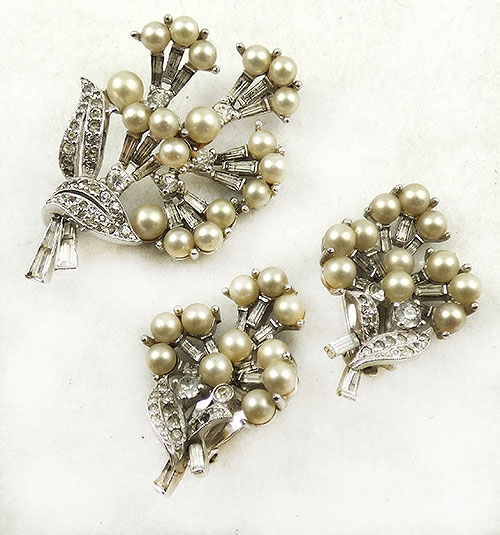 Newly Added Jomaz Rhinestone Pearl Bouquet Brooch Set