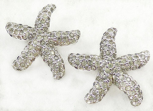Figural Jewelry - Birds & Fish - Jomaz Rhinestone Starfish Scatter Pins