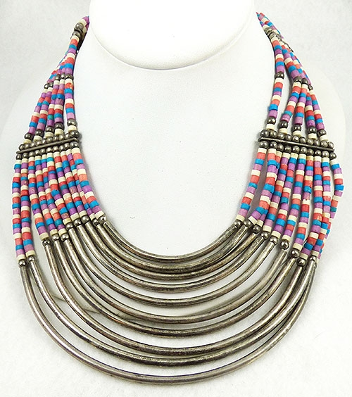 Necklaces - Boho Coco Heishi Silver Tubes Necklace
