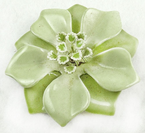 Newly Added Celery Green Enamel Flower Brooch