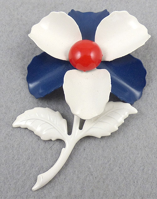 Patriotic Jewelry - Patriotic Enamel Flower Brooch