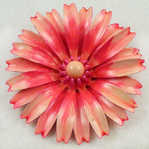 Florals - Pink Enameled Flower Brooch