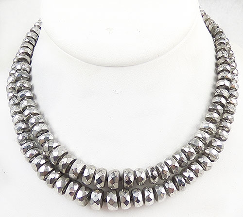 Newly Added Silver Metallic Glass Bead Necklace