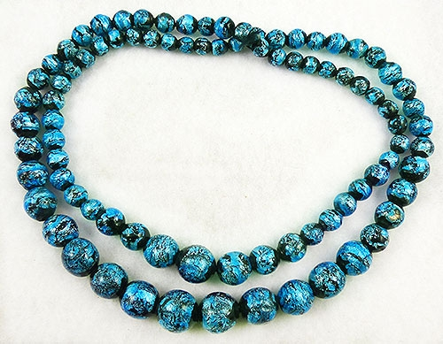 Newly Added Venetian Teal Foil Glass Beads Necklace