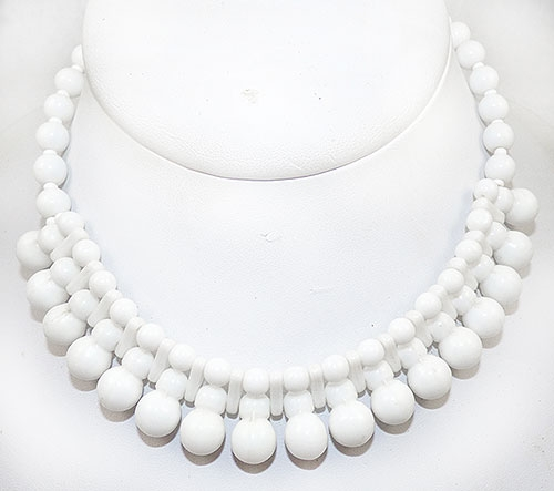 Necklaces - Western Germany White Glass Bead Necklace