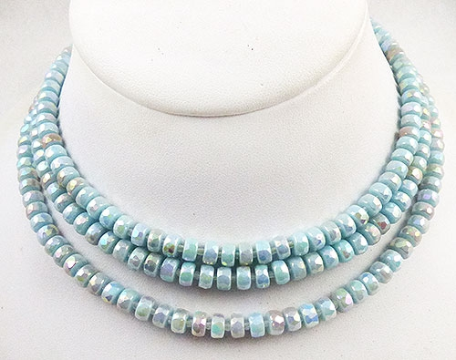 Spring Pastel Jewelry - Castlecliff Iridescent Aqua Glass Bead Necklace