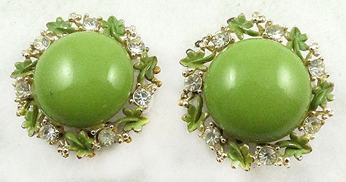 Colors for Spring Summer 2019 - Lime Green Button Flower Earrings