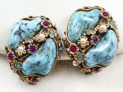 Earrings - Turquoise Art Glass Earrings
