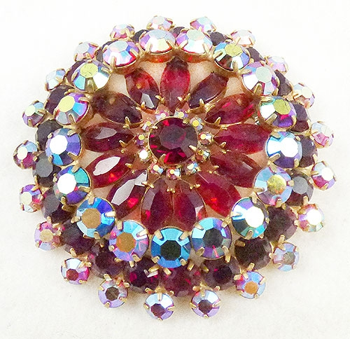 Newly Added DeLizza and Elster Red Rhinestone Headlight Brooch