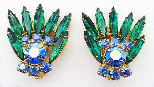 Newly Added Green Navette and Blue Rhinestone Earrings