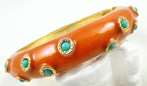 Colors for Spring Summer 2019 - Orange Enamel Clamper Bracelet