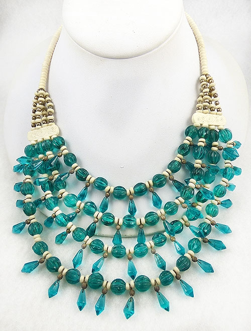 Necklaces - Boho Teal Glass and Bone Tiered Necklace