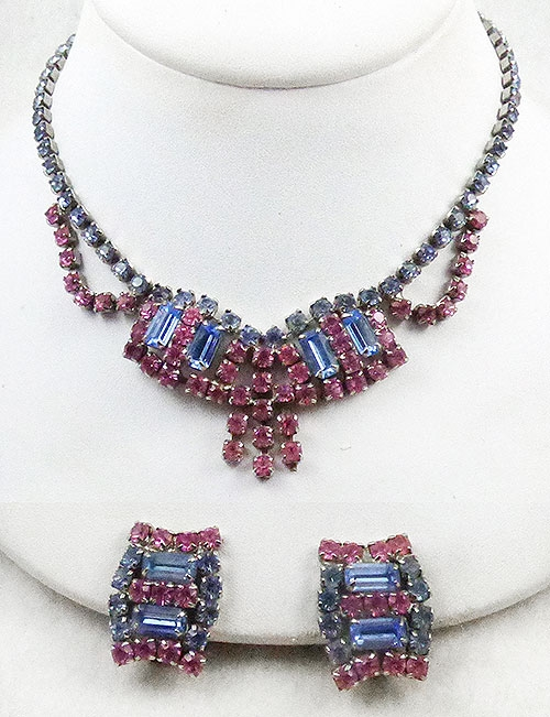 Newly Added Light Sapphire and Pink Rhinestone Necklace Set
