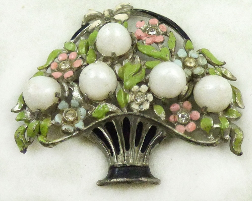 Spring Pastel Jewelry - White Moonglow Enamel Flower Basket Brooch