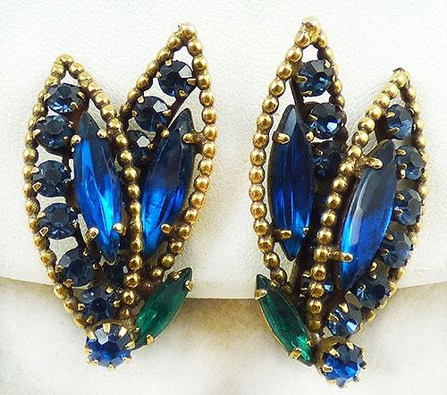 Leaves & Plants - Vendome Blue Rhinestone Leaves Earrings