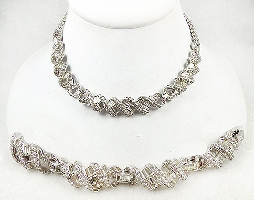 Newly Added Rhinestone Ribbon Necklace and Bracelet Demi-Parure