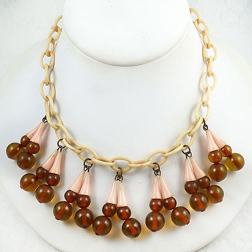 Newly Added Celluloid and Apple Juice Bakelite Beads Necklace