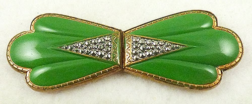 Belts & Buckles - Czech Green Enamel Marcasite Buckle
